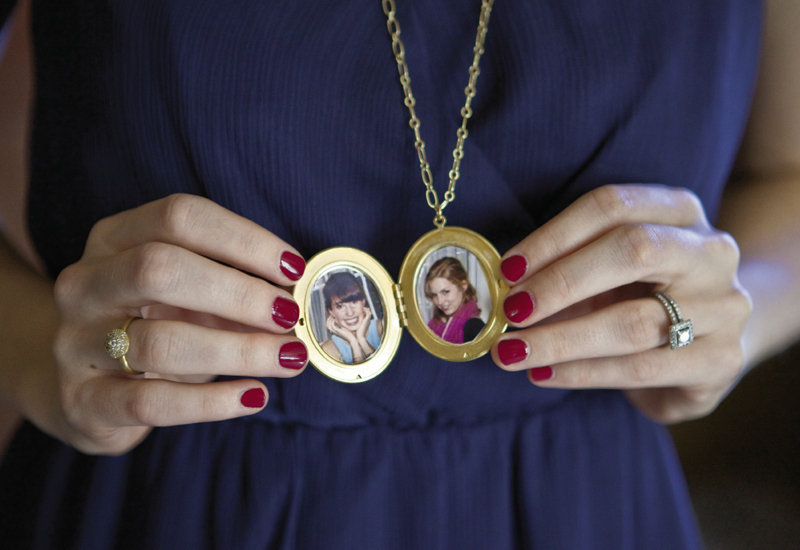 Julia presented her bridesmaids with keepsake lockets.