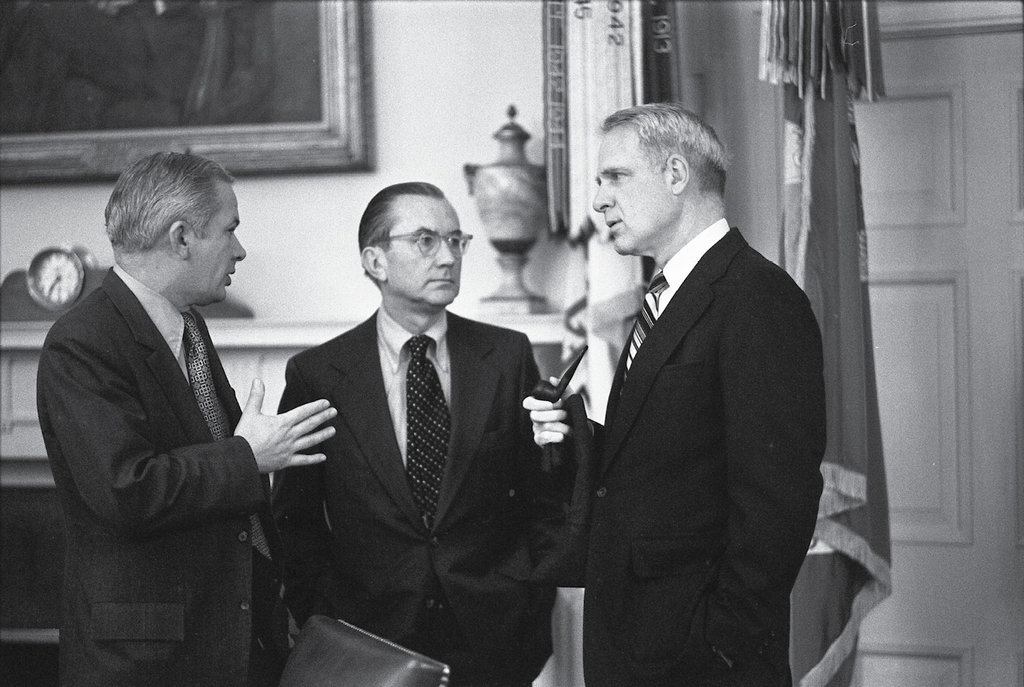 Duckett participates in a briefing at the White House in March 1975 with CIA Director William Colby (center) and Secretary of Defense James Schlesinger (right).