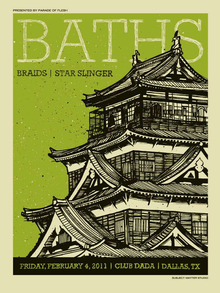Baths, Braids & Star Slinger gig poster. Courtesy of Drew Findley
