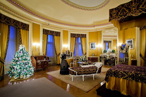 Each room, including Mrs. Vanderbilt's, is given special care in during the decorating process.