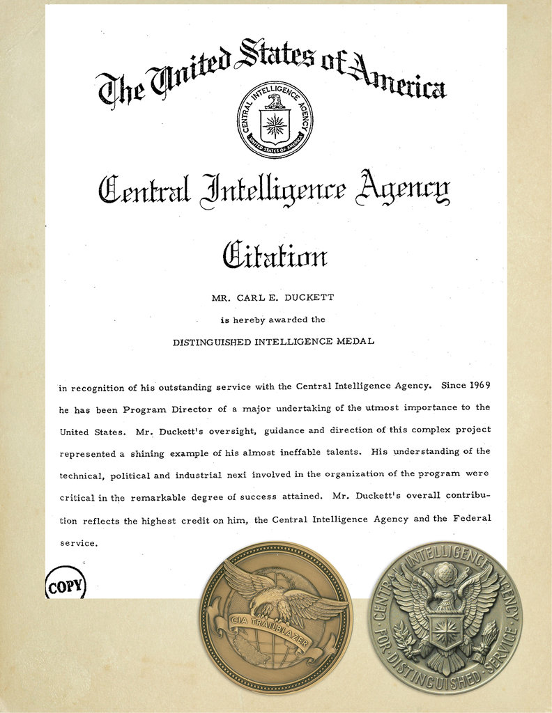 Duckett is one of the few CIA officers in history to receive the Distinguished Intelligence Medal twice, and in 2007, the agency posthumously named him one of its 50 key trailblazers.