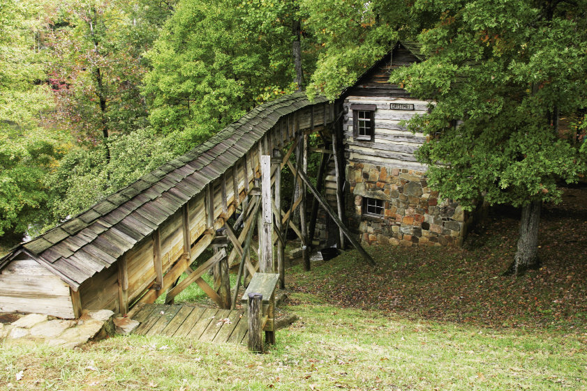 Among the 101 buildings are a restored trapper's house and a painstakingly reconstructed gristmill.