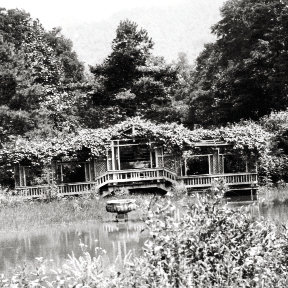 A pergola-covered deck overlooked a pond on the grounds.