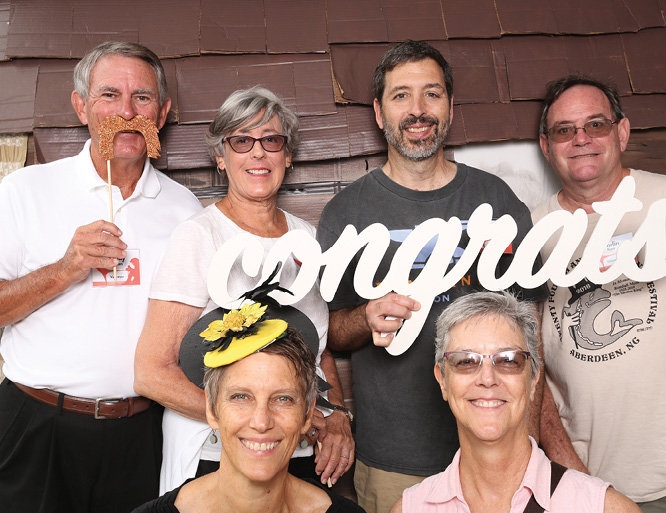 (Back row) Sandy Jordan, Lindsay Jordan, Roy Baroff, and Dorlin Kerr with (front row) Caroline McLaughlin and Susan Kerr