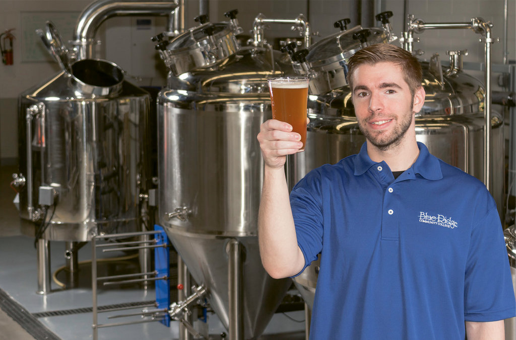 Blue Ridge Community College student Scott Swann is learning brewing first hand.