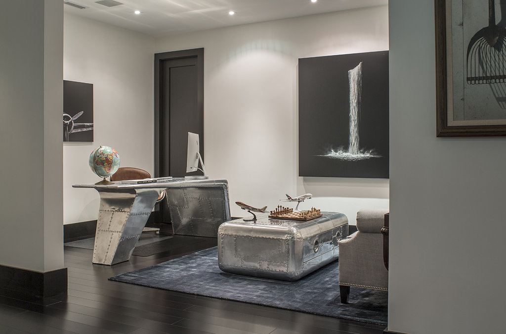 The office, featuring furnishings from Restoration Hardware