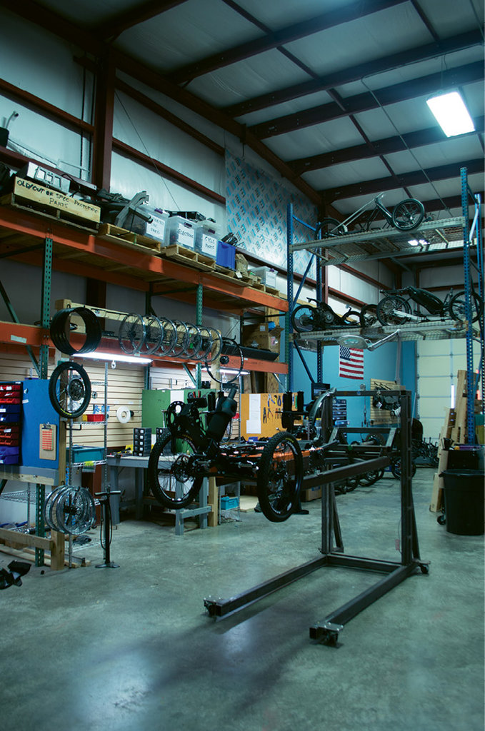 An Outrider frame waits to be outfitted.