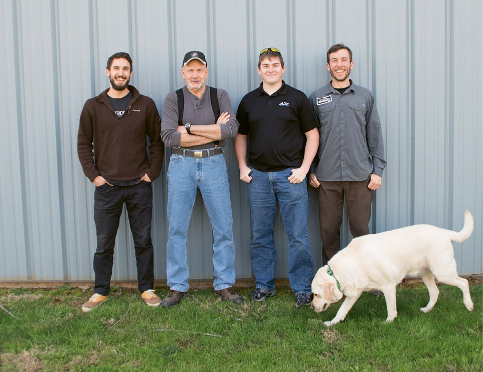 The Outrider crew (left to right): Josh Mather-Pike, Carl Mersch, Sawyer Awald, Tommy Ausherman, and pup Sully, leader of team morale