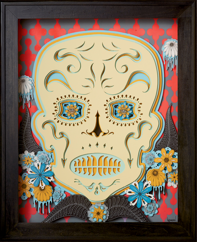 Johansen created his sugar skull light boxes through a paper-cutting process he encountered traveling  in China.