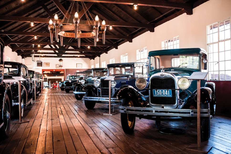 An antique car museum houses Harry Blomberg's classic auto collection.