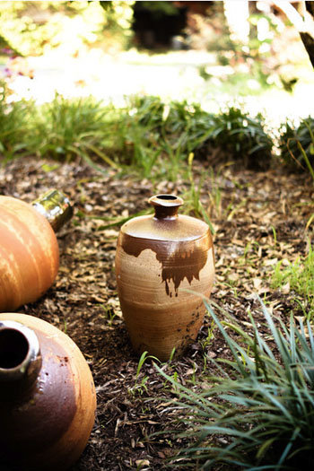 Art is spread across the campus, including this outdoor pottery installation.