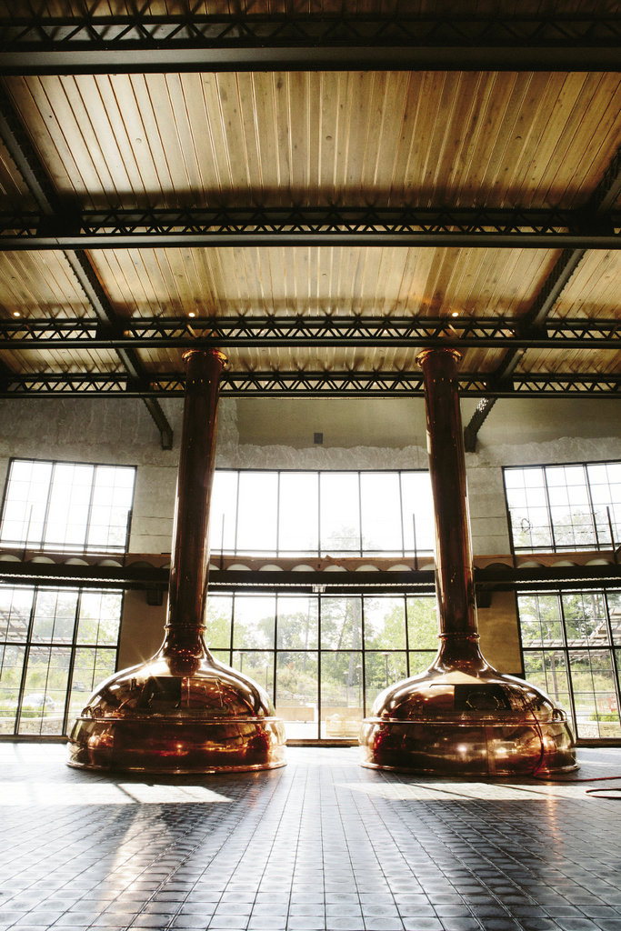 Copper-clad kettles at Sierra Nevada's new brewery in Mills River