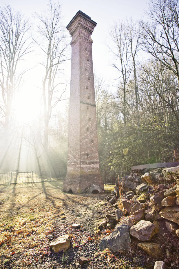 A kiln used to fire Gaustavino's signature tiles crumbled, but it's chimney remains.
