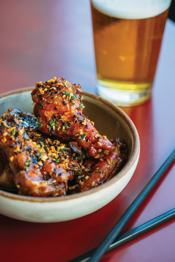 Wonders of the Orient: Gan Shan Station owner and chef Patrick O'Cain serves a slew of Asian dishes, including popular savory-sweet Korean-style wings.