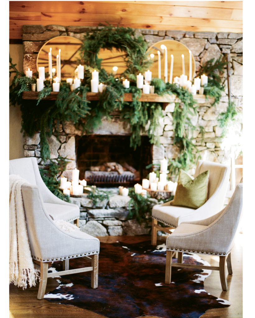 Take Note - Keep décor simple and elegant by incorporating natural elements like greenery and rustic wood slices. Arrange various size pillar candles to add warmth  and depth.