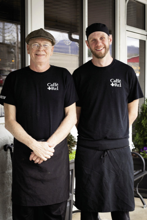 Sous Chef Tim Blekicki (right) with Chef/owner Richard E. Long (left), whose initials give the bistro its name.