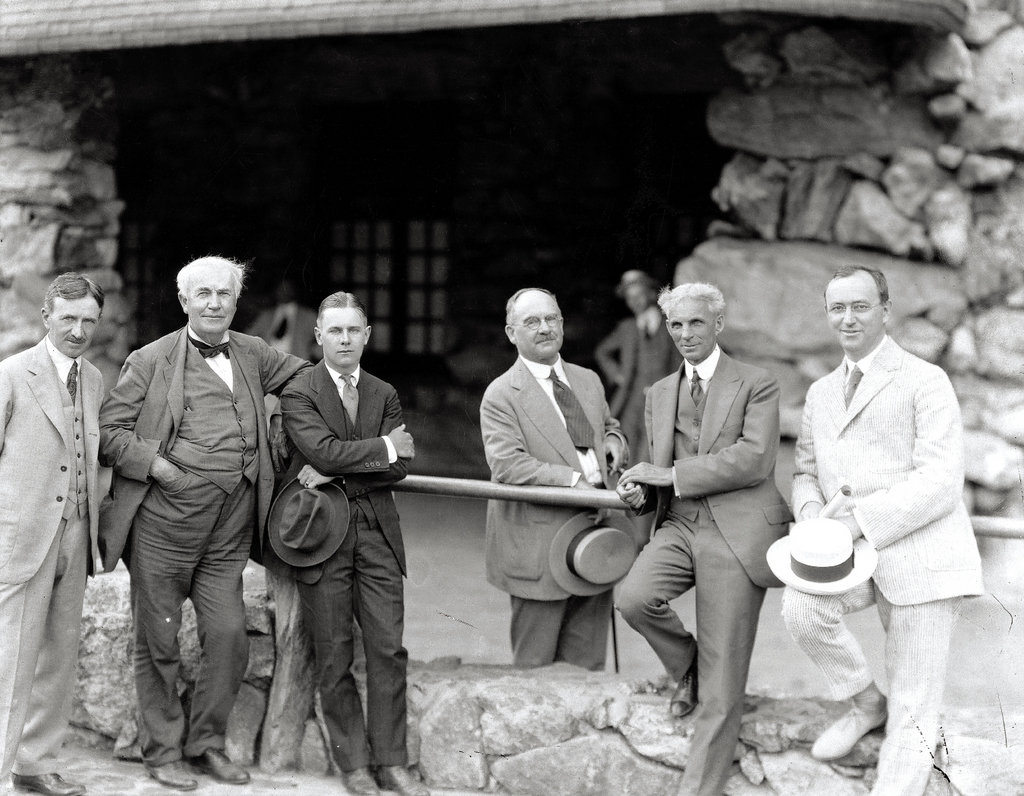 Seely welcomed many notables to Overlook. In this photo, taken in 1918 at the Grove Park Inn, he was joined by (from left) Harvey Firestone Sr., Thomas Edison, Harvey Firestone Jr., Horatio Seymour, and Henry Ford.