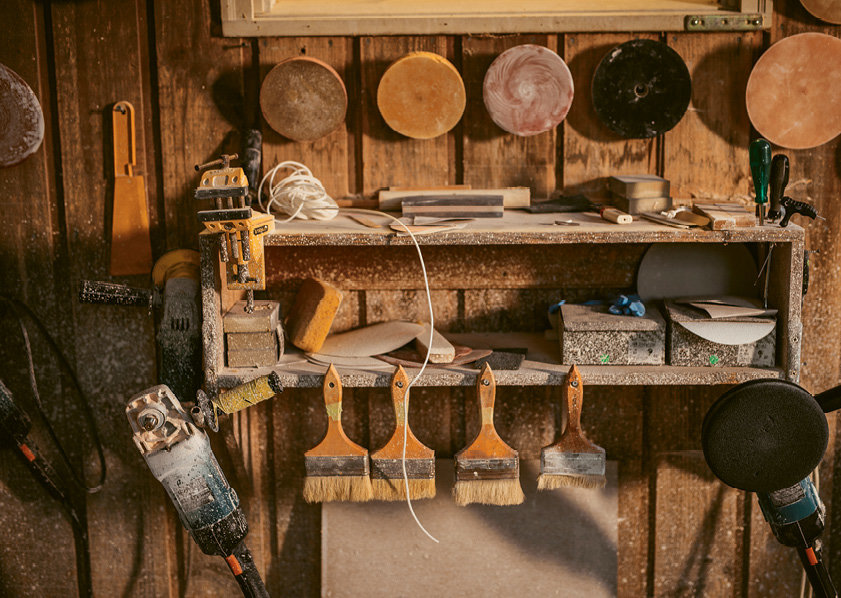 Pressly fabricates many of his own tools.