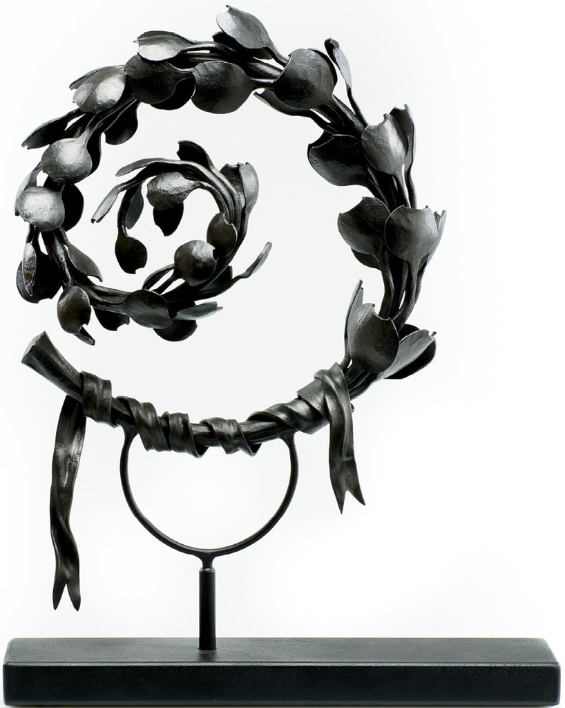 Scroll is a tedious piece in forged steel that took two months to make, with each petal having to be heated and hammered about 10 times.