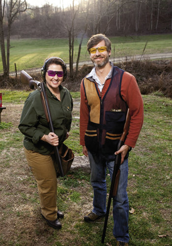 Shooting instructor Reba Brinkman introduces gun-shy writer Graham Averill to the basics of clay pigeon shooting at Fowler Farms near Hot Springs.