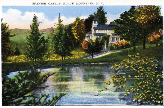 A postcard depicts the home, which locals nicknamed The Spanish Castle.