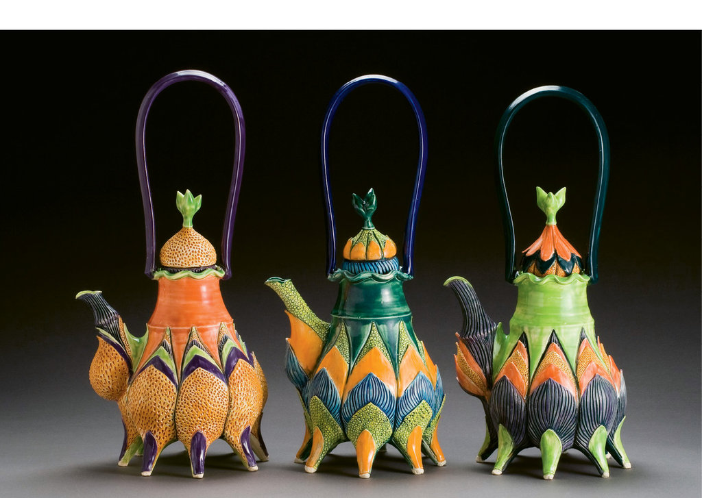 These playful lotus teapots have leaf forms and lobes that highlight the plasticity of the clay. After creating shapes on the wheel (right), Sherburne experiments with extreme proportions and pops of bright color.