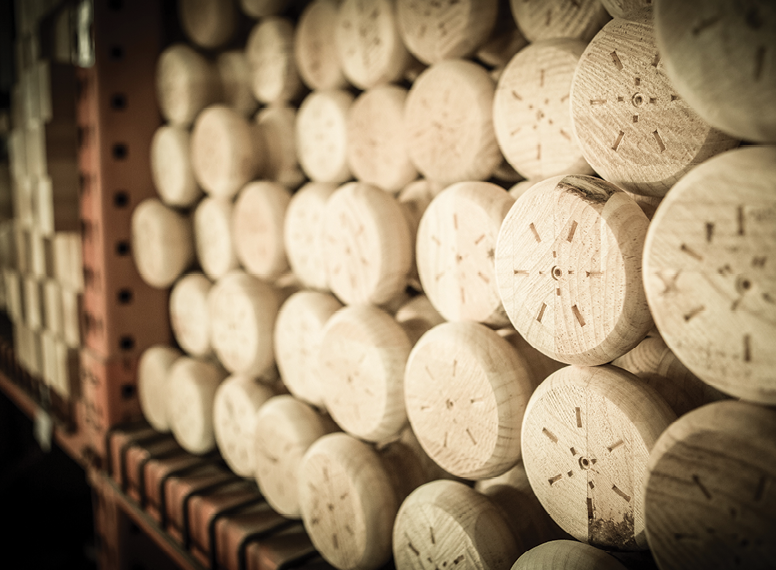 Stacks of turned table legs await production.