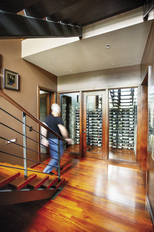 The wine cellar is temperature-controlled.