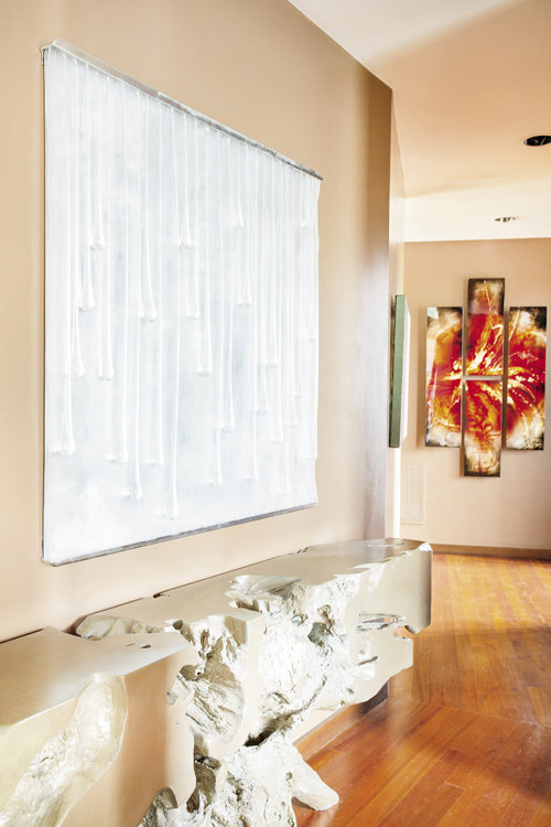 In the foyer, works of art have been sourced from around the world.