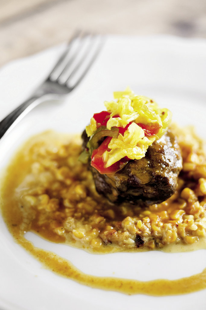 Eden Farms pork cheek with corn risotto and Tennessee chow-chow.