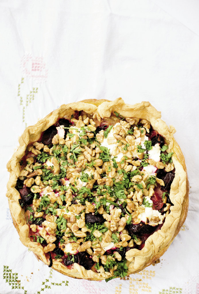Roasted Beet & Gingered Goat Cheese Tart