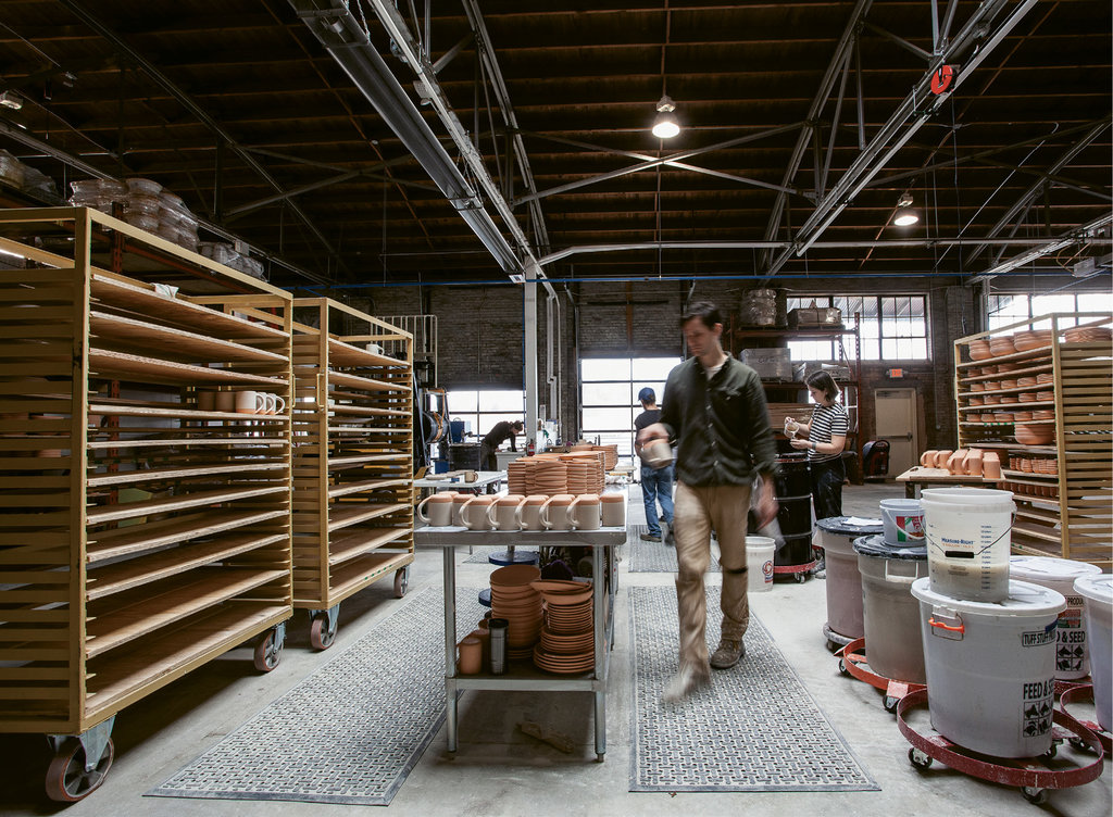 At the factory, 10,500 square feet is devoted to production.
