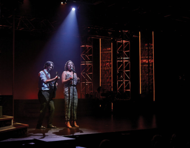 Ryan Guerra and Erin Rubico perform a song from the Broadway musical Bright Star.