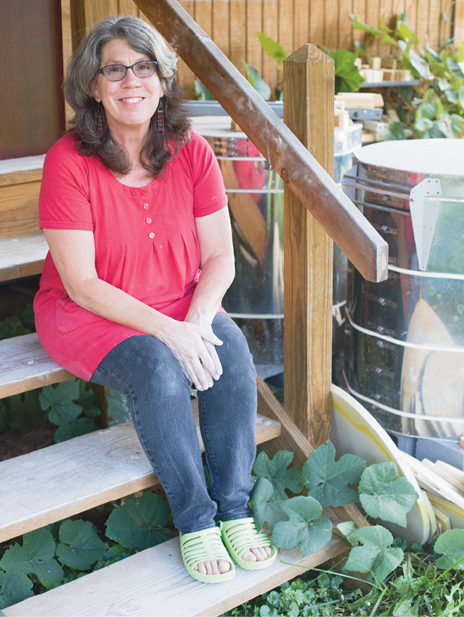 Sherburne creates from her home studio in Bakersville, where she makes, glazes, and electric kiln fires her wares.