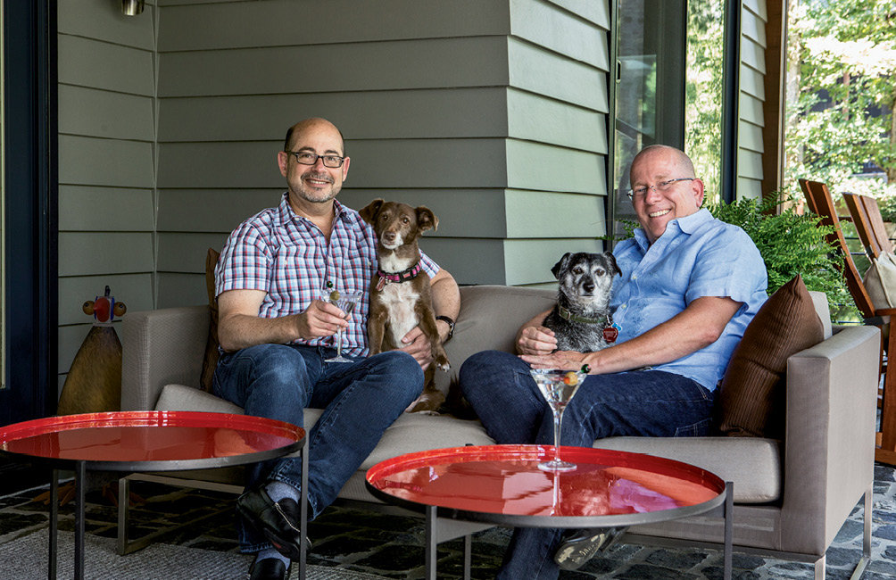 Mark Goldberg (left) and Jeff Sadagursky designed and decorated their dream home, where pups Izzi and Gracie rule the roost.