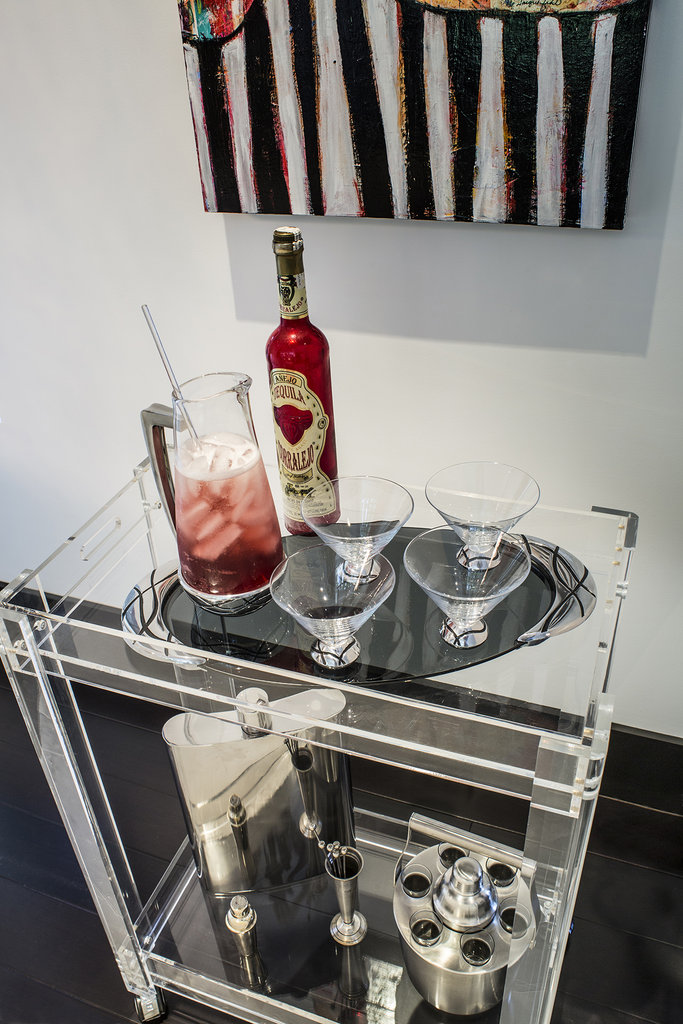 A modern bar cart makes entertaining easy.