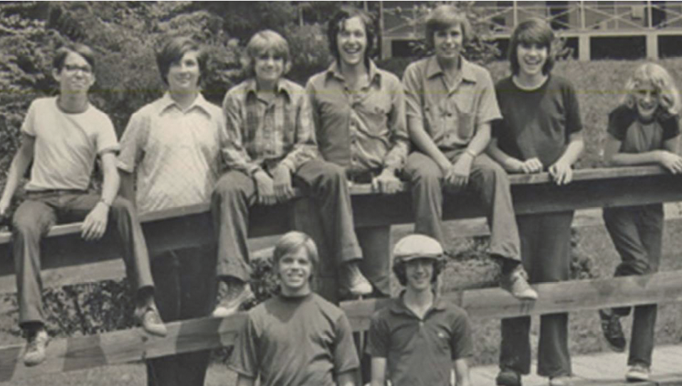 Then ... Lockhart (far left in both photos) studied at BMC's Summer Institute during 1974 and '75.