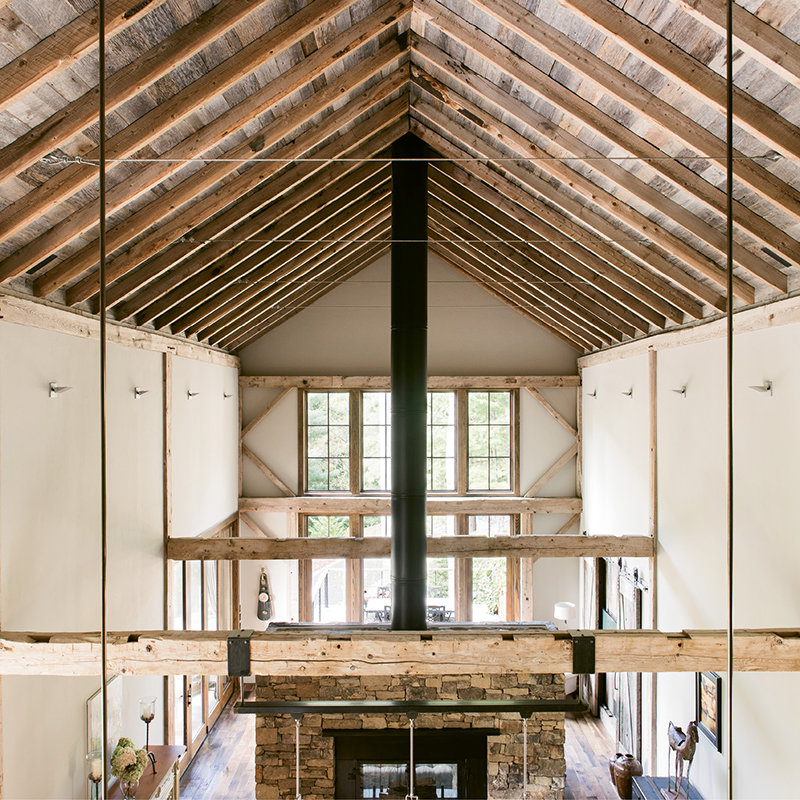 The barn nave was reconstructed to match the original, but with the addition of modern steel connections.