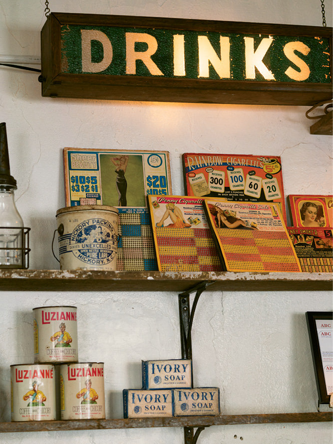 The interior is decked with period posters and relics of yore.
