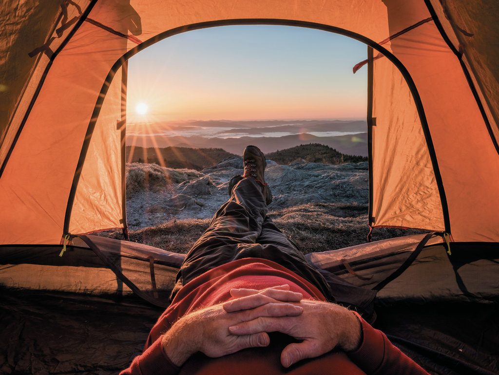 FINALIST - WHAT A VIEW - Thomas Moors - Using a tripod, Moors captured the sunrise from his tent while camping along the Art Loeb Trail.  Professional category