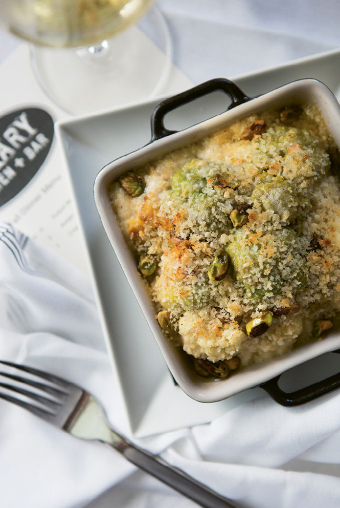 Cauliflower gratin with a brown butter-Parmesan crust and oven-roasted pistachios