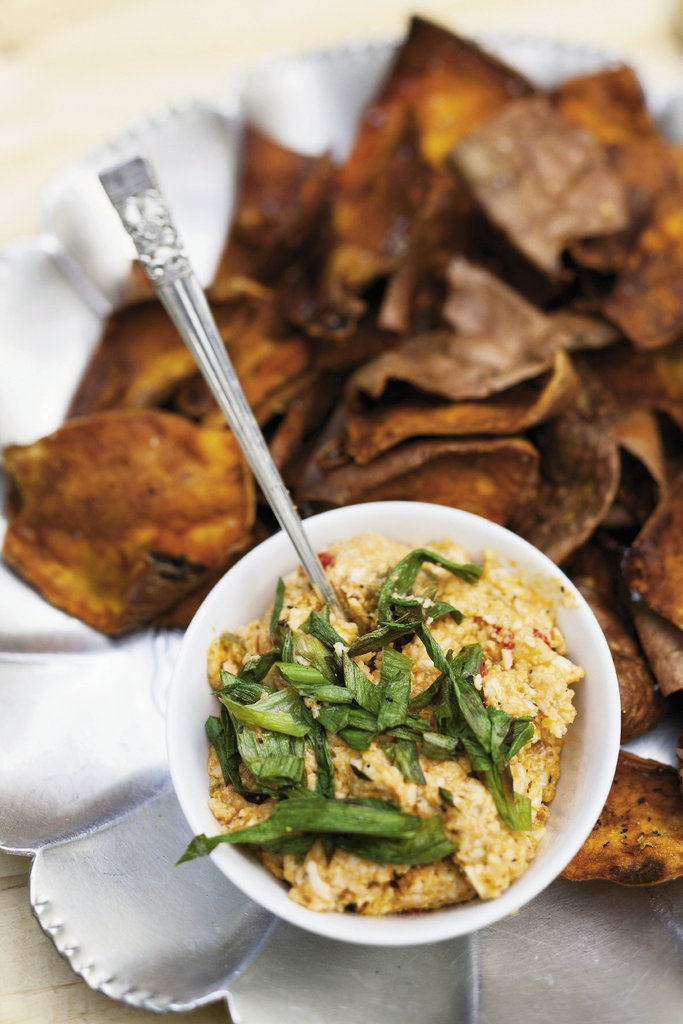 Pimento cheese served with sweet potato skins
