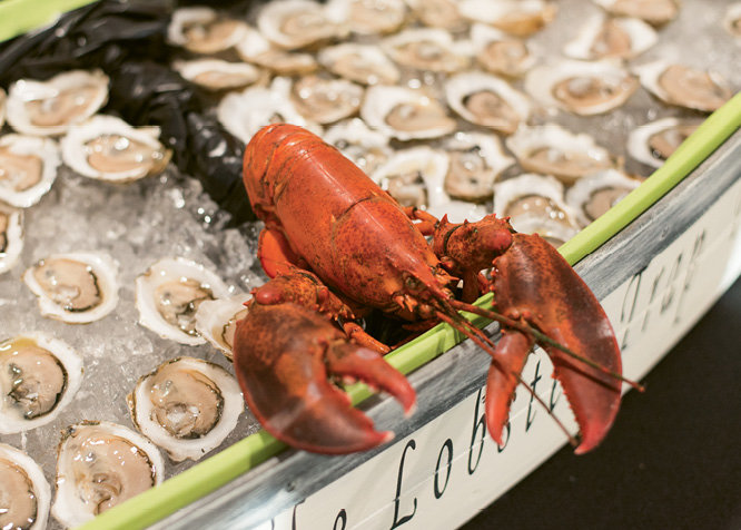 An array of seafood and fresh shucked oysters was provided by The Lobster Trap.
