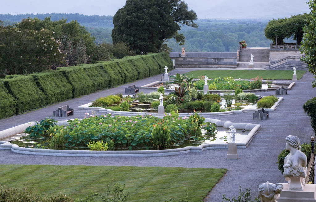 Peaceful places: The Garden Terrace, aka the Italian Garden, is rich with aquatic plantings and statuary features, and also served as the Vanderbilts' croquet court.