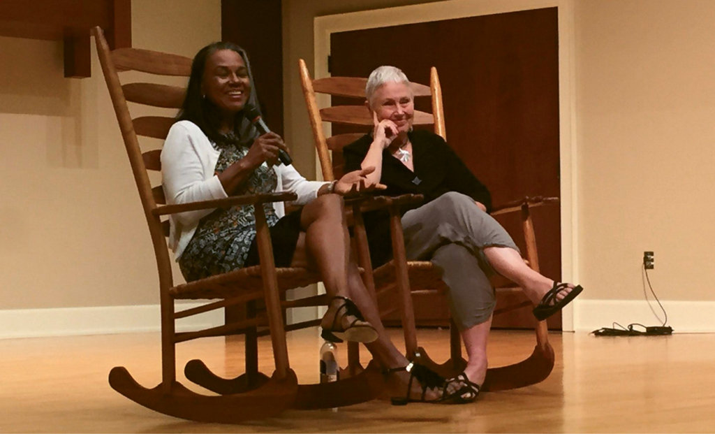 Lundy at a speaking engagement with another noted author, Toni Tipton-Martin